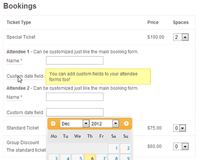 Capture individual attendee information for each ticket booked.